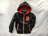 Ветровка весенняя детская для мальчика от 3 до 7 лет, черная с оранжевым, фото 1