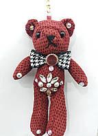 Вязанный брелок мишка бордовый, брелки медведи оптом 322