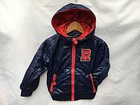 Ветровка весенняя детская для мальчика от 3 до 7 лет,темно синяя с красным, фото 1
