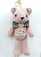 Вязанный брелок мишка розовый, брелки медвежата оптом 323