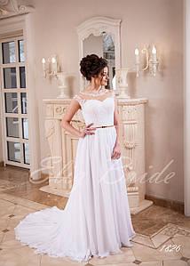 Платье прямого пошива из мультишефона с кружевной майкой
