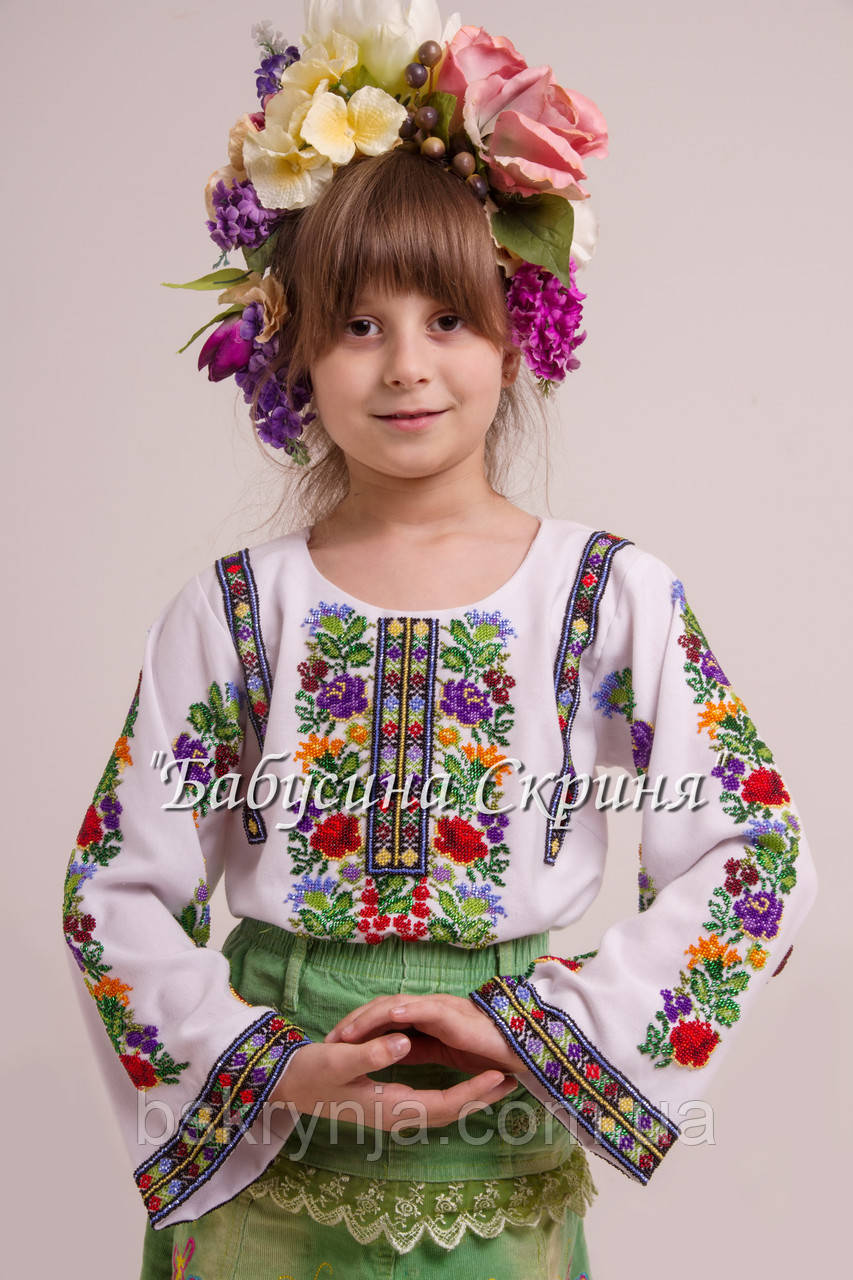 Заготовка Борщівської дитячої сорочки для вишивки нитками/бісером БС-101