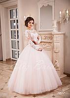"""Свадебное платье 2018 . Пышная юбка , длинный рукав , цвет """"пудра"""""""