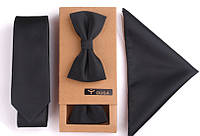 Подарочный черный набор однотонный галстук, платок, бабочка