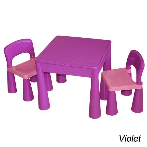 Комплект детской мебели стол 2в1 и 2 стульчика Tega Mamut сиреневый, подходит для Lego