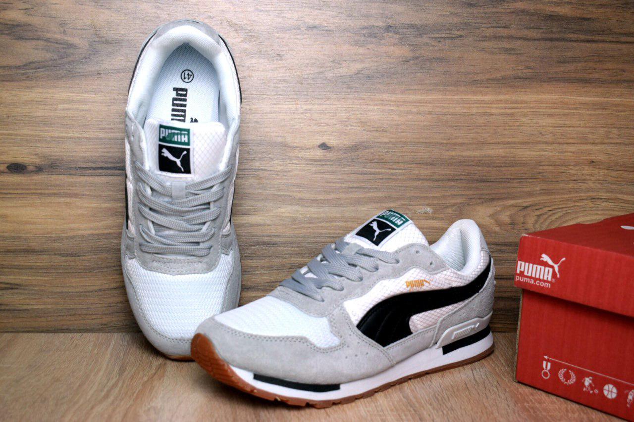 Мужские кроссовки Puma RX 727 серые с белым 1368 - Компания