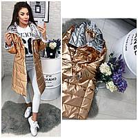 Женская длинная куртка (арт 1002) цвет бронза+серебро, фото 1