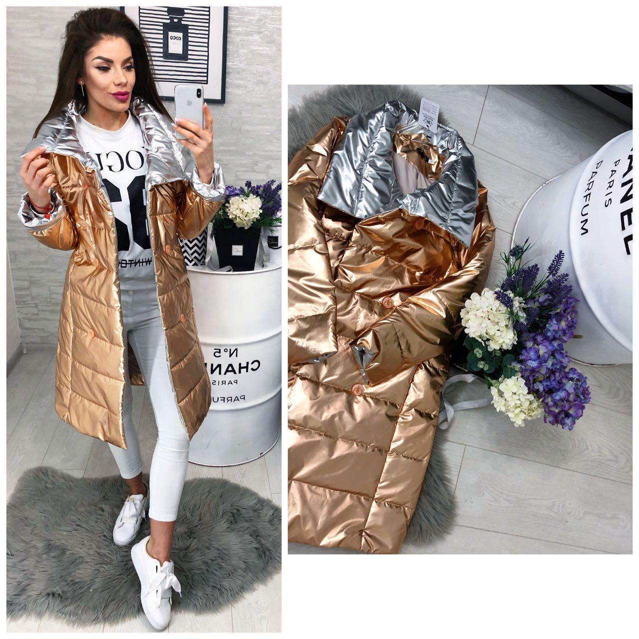 Женская длинная куртка (арт 1002) цвет бронза+серебро