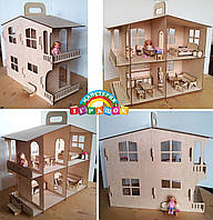 Кукольный домик с мебелью (разборный)