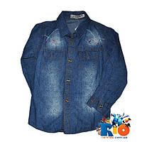 Детская джинсовая рубашка Ju Nuo Poi с длинным рукавом  , для мальчика 4-8 лет, 4 шт. в упаковке