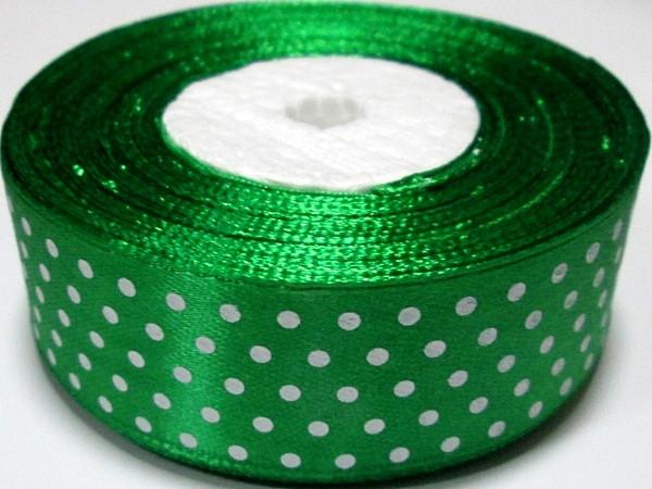 Лента Горошек 2,5 см, зеленая