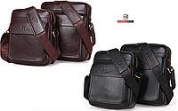 Мужская сумка барсетка натуральная кожа Polo Feidika большого размера
