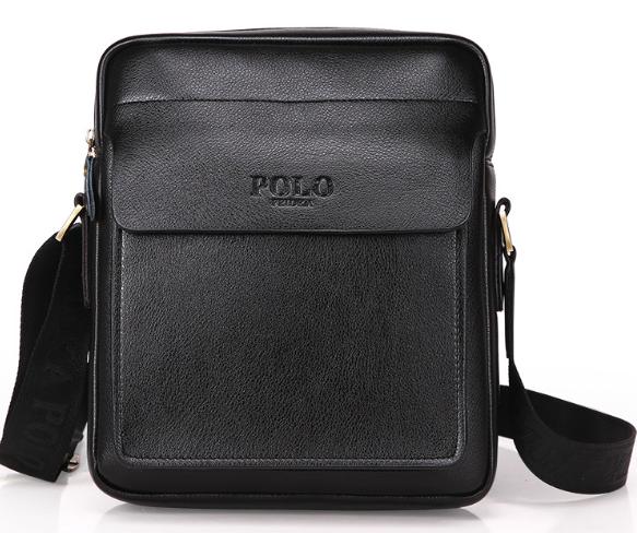 Чоловіча сумка барсетка шкіра Polo Feidika великого розміру Чорний