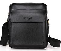 Мужская сумка барсетка кожа Polo Feidika большого размера Черный