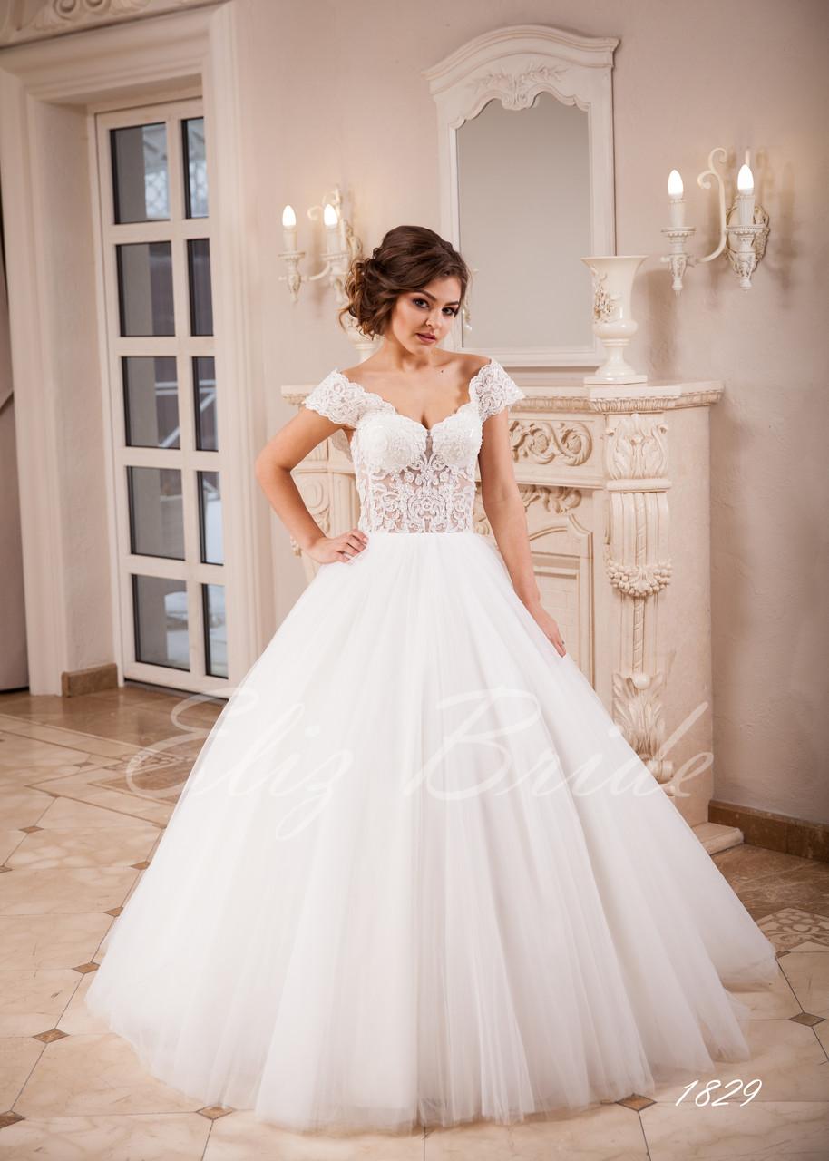 b5d95dea6168a34 Свадебное платье А-силуэт с спадающими бретелями, цвет айвори - Eliz Bride  в Черновцах