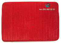 Однотонный коврик в ванную на поролоне 62Х43 см (Красный)