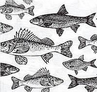 Салфетка для декупажа Рыбы, 33х33 см