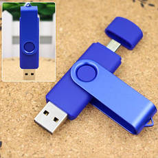 2 в 1 Универсальная флешка 16 ГБ USB2.0+мик.USB OTG blue, фото 3