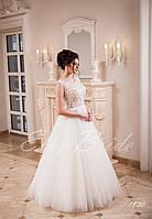 ba5fd15a790 Красивое длинное свадебное платье А-силуэта с кружевным верхом СВ ...