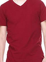 Футболка мужская бордовая горловина мыс, фото 2