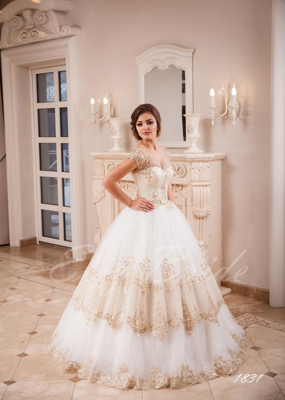 b6ed38455 Свадебное платье 2018 . Пышная юбка с золотистым кружевом. - Eliz Bride в  Черновцах