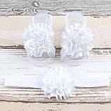 Повязка на голову для новорожденных +повязки на ножки набор, фото 4