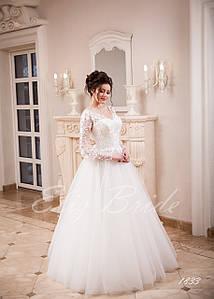 Свадебное платье А-силуэт , с рукавами (фонарик). V-вырез