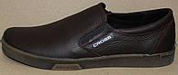Мужские кожаные туфли коричневые на резинке, кожаная обувь мужская от производителя модель АМТК-4кор