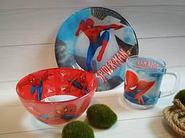 Набор детской посуды из стекла Человек паук