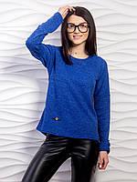 Удобный повседневный однотонный свитер тонкой вязки