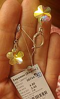 Сережки срібні Серьги серебрянные с кристаллами Сваровски Цветок 56744-14 АВ