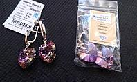 Сережки срібні Серьги серебрянные с кристаллами Сваровски Сердце 56228-18 VL