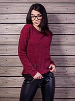 Удобный повседневный однотонный свитер тонкой вязки бордовый, M (44-46)
