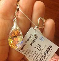 Сережки срібні Серьги серебрянные с кристаллами Сваровски 56106-22 АВ
