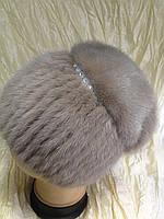 Меховая шапка  из бежевой норки  на вязанной  основе