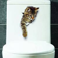 """Украшения стены наклейки на туалет """"вылезающий кот"""" лист 20*24см"""