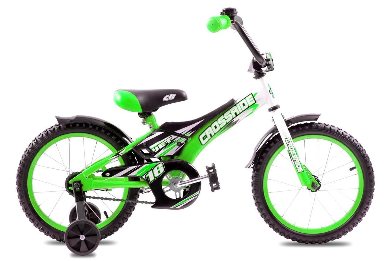 """Детский велосипед CROSSRIDE JET 16""""  Салатовый/Черный"""