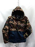 Куртка-Анорак  демисезонная для мальчика 12-16 лет, камуфляж темно зеленый