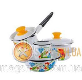 КМК Набор детской эмалированной посуды - Улыбка 0.8 л (белый)