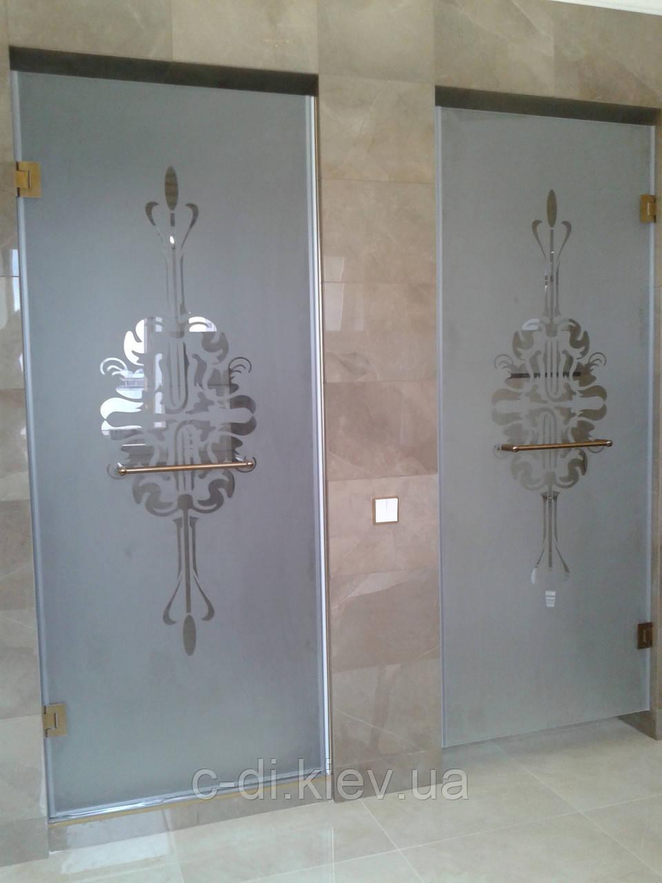 Стеклянные душевые двери с рисунком