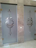 Стеклянные душевые двери с рисунком, фото 1