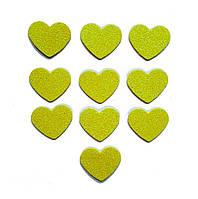 Желтые сердечки сердца с глиттером (блестками) аппликации из фоамирана Латекса заготовки 3.8 см 10 шт/уп