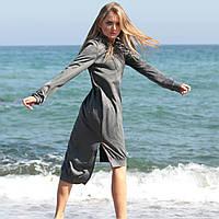 Платье из ангоры  с капюшоном удлиненное сзади, фото 1