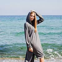 Платье с капюшоном удлиненное сзади, фото 1
