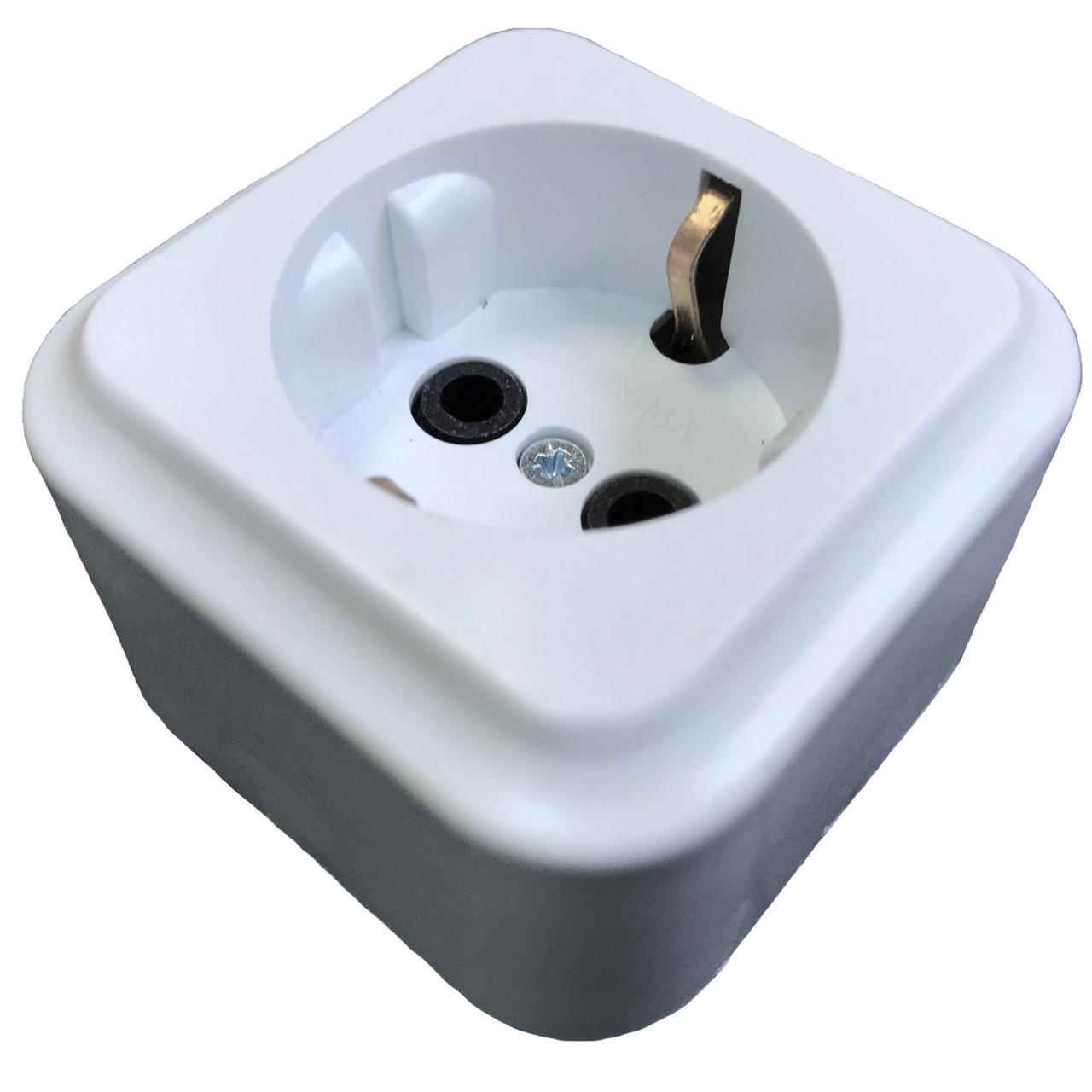Розетка електрична ЕМР 16А з заземленням колодка одинарна для електромонтажу (матеріал АВС)