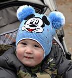 Красивая весенняя детская шапка с двумя помпонами, фото 5