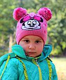 Красивая весенняя детская шапка с двумя помпонами, фото 4
