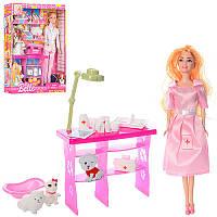 Кукла доктор ветеринар с аксессуарами,набор доктора, животные 2 шт, 2 видаJX600-59, коробка26,5-33,5-7 см