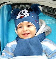 Красивая детская шапка с двумя помпонами, фото 1
