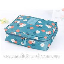 Косметичка/несесер жіноча дорожня Trevel Season Bag Floralblue 22*17*8 см, фото 3